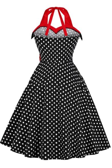 Color Block Halterneck Polka-Dot Print Bow-Tied Waist Midi A-Line Flared Black Dress