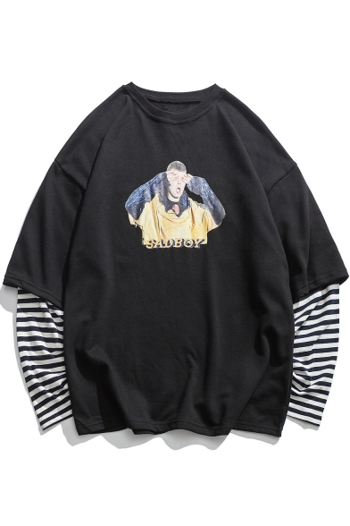Fake Two-Piece Round Neck Long Sleeve Striped Figure Letter Print Unisex Pullover Sweatshirt