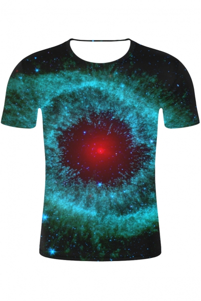Fashion Color Block Starry Sky Printed Round Neck Short Sleeve Casual Tee