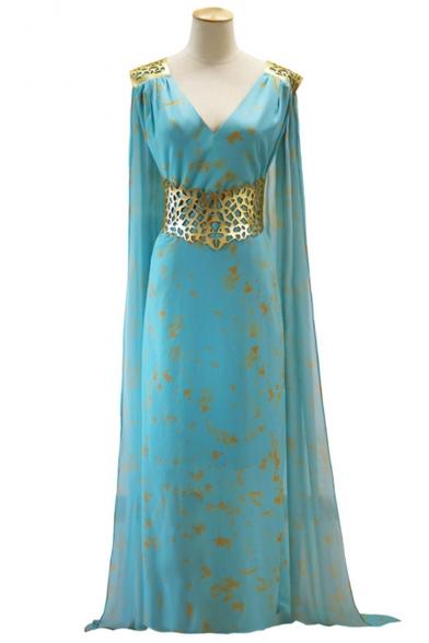 Game of Thrones Daenerys Targaryen Fashion Printed V-Neck Sleeveless Maxi Blue Cape Dress
