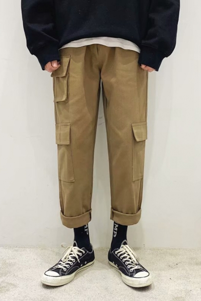 Guys Casual Loose Simple Plain Flap Pocket Side Cotton Straight Cargo Trousers