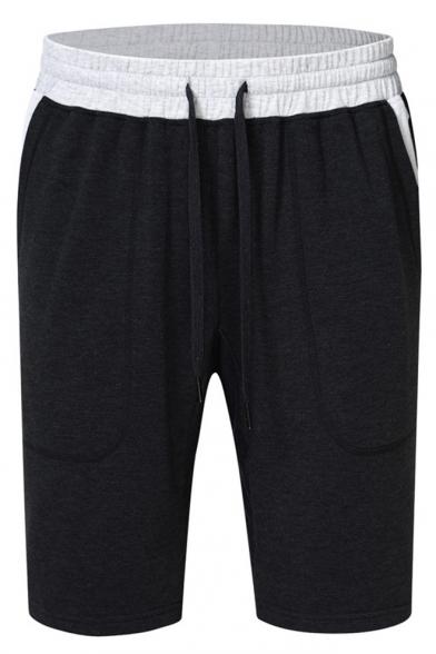 Mens Simple Drawstring-Waist Contrast Pocket Back Running Athletic Sweat Shorts
