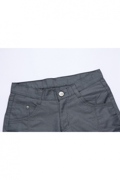 Mens Summer Solid Color Slim Fit Tailored Chino Shorts