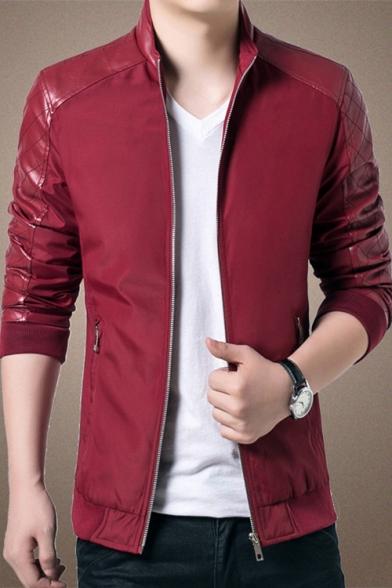 Mens Trendy Stand Collar Long Sleeve Zip Up PU Paneled Plain Casual Jacket