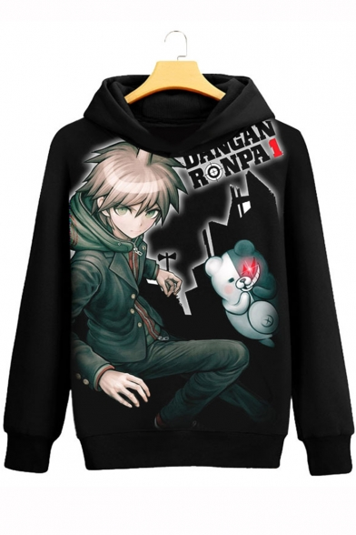 New Trendy Comic Character Printed Long Sleeve Black Relaxed Hoodie