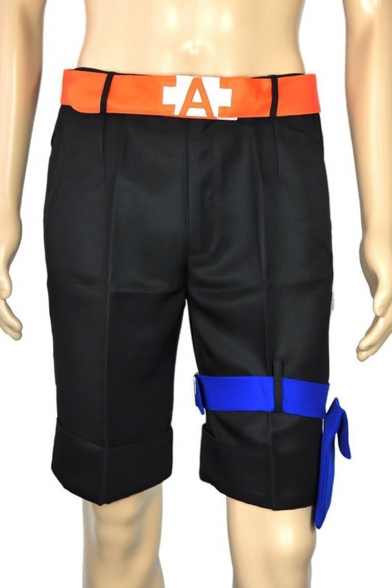 Cosplay Costume Tied Embellished Comic Black Tailored Shorts