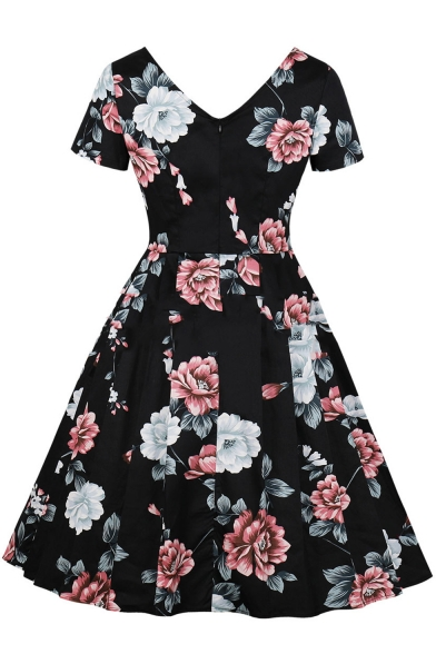 Retro Black Floral Printed V-Neck Short Sleeves Midi Fit and Flared Dress