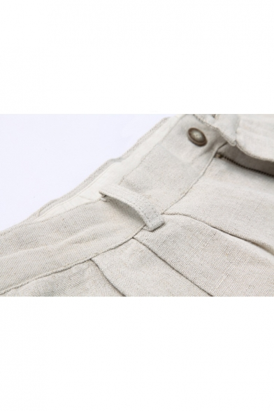 Simple Embroidery Mens Solid Color Comfort Loose Beige Lounge Shorts