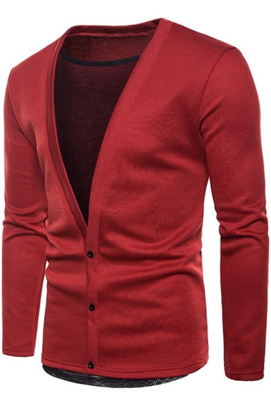 Unique Fashion Mesh Panel Fake Two-Piece V-Neck Plain Button Down Fitted Cardigan for Men