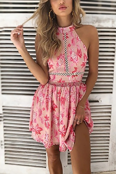 Boho Style Floral Pattern Halter Neck Sleeveless Hollow Out Mini A-Line Beach Dress