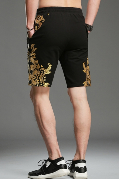 Chinese Style Floral Gold Stamp Printed Drawstring Waist Mens Black Cotton Relaxed Shorts