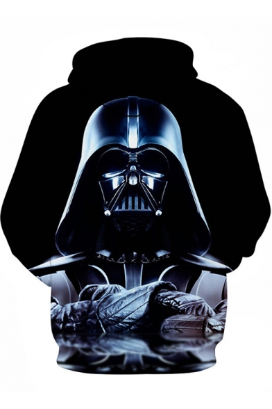 Cool 3D Darth Vader Printed Long Sleeve Relaxed Black Drawstring Hoodie