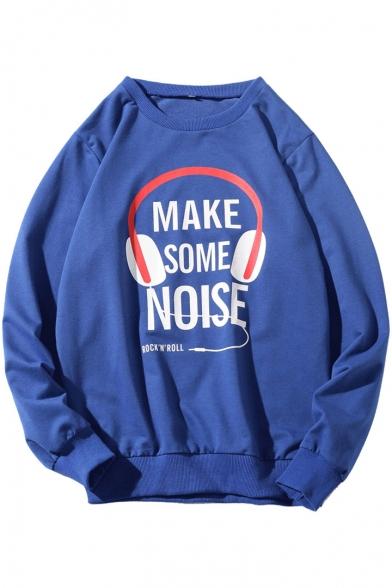 Cool Letter MAKE SOME NOISE Earphone Print Long Sleeve Casual Graphic Sweatshirt