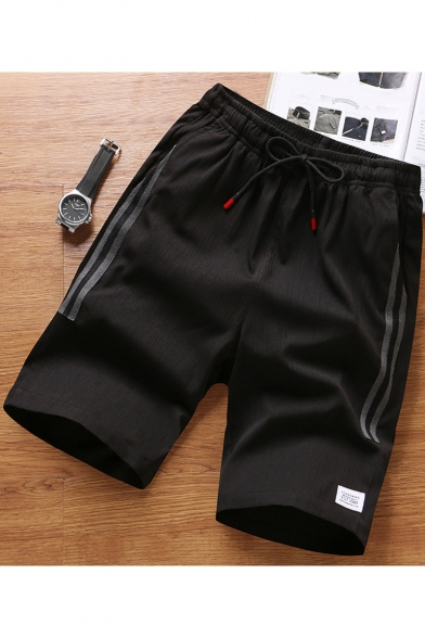 Fashion Contrast Striped Side Breathable Drawstring Waist Patchwork Men's Casual Sport Shorts
