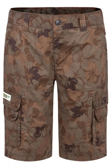 Guys Retro Allover Floral Printed Brown Cotton Leisure Cargo Shorts
