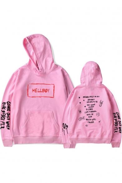 American Rapper Popular Letter HELLBOY Print Casual Loose Pullover Hoodie