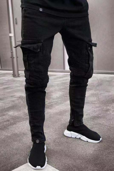 Men's New Stylish Pleated Flap-Pocket Side Stretch Skinny Fit Black Cargo Jeans