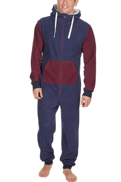 Mens New Fashion Colorblock Long Sleeve Drawstring Hoodie Zip Front Casual Jumpsuits