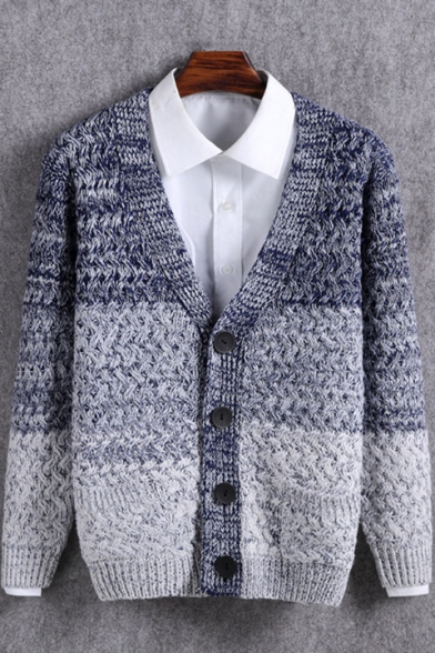 Mens New Fashion Ombre Color V-Neck Long Sleeve Button Front Cardigan
