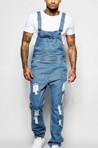 most fashionable a few days away high fashion Mens New Stylish Distressed Ripped Vintage Light Blue Denim Bib