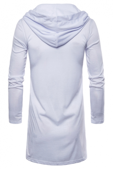 Mens New Trendy Simple Plain Hooded Open Front Casual Sport Longline Cardigan