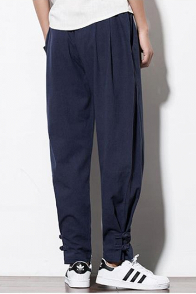 Mens Simple Basic Plain Drawstring Waist Frog Button Gathered Cuff Casual Linen Tapered Pants