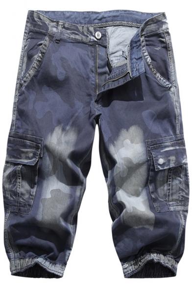 Mens Summer Stylish Camouflage Printed Flap Pocket Side Denim Shorts Cargo Shorts