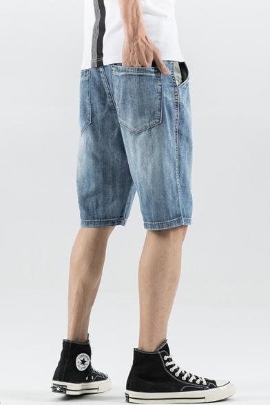 Mens Vintage Distressed Bleach Washed Light Blue Straight Fit Loose Denim Shorts