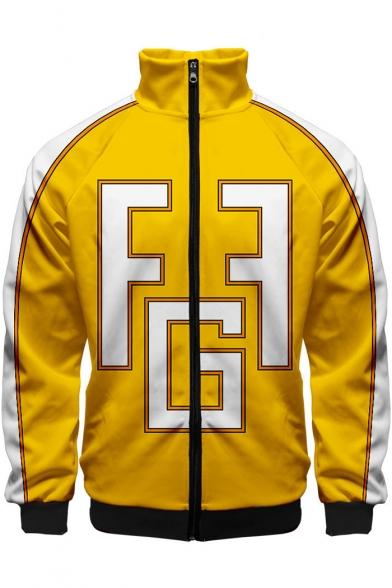 My Hero Academia Comic Cosplay Colorblock Long Sleeve Stand-Collar Zip Up Yellow Jacket