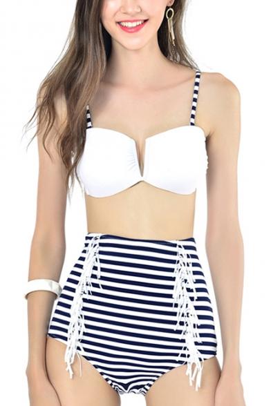 New Fashion Striped Print Spaghetti Straps Tassels Design High Waist Bottom Bikini