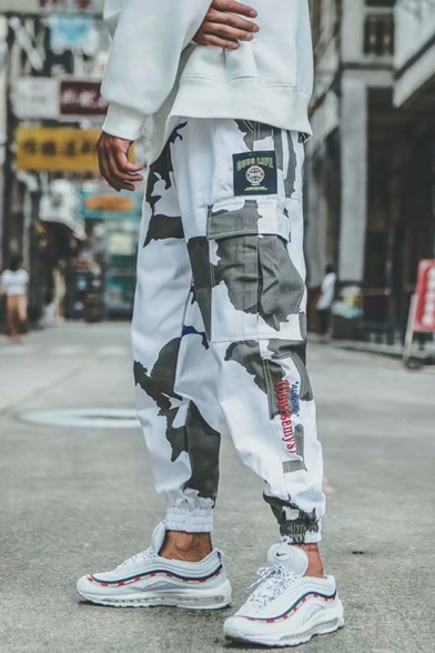 New Stylish Street Hip Hop Camo Printed Drawstring Waist Sport Casual White Cargo Pants for Guys