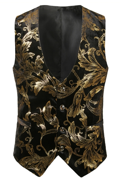 Night Club Mens Floral Printed Single Breasted Casual Tuxedo Vest