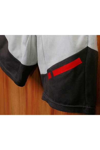 Popular Colorblocked Elastic Waist Patched Detail Fashion Zip Pocket Mens Cotton Sport Running Sweat Shorts