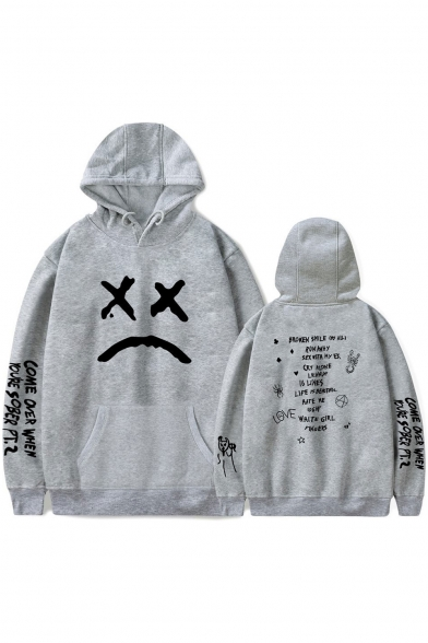 Popular American Rapper Sad Face Letter Print Loose Fit Unisex Pullover Hoodie