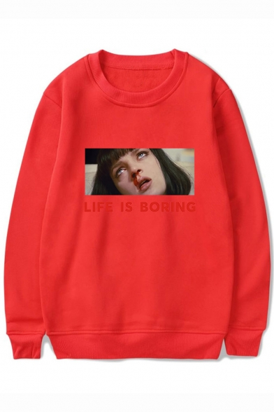 Pulp Fiction LIFE IS BORING Long Sleeve Round Neck Basic Pullover Casual Sweatshirt