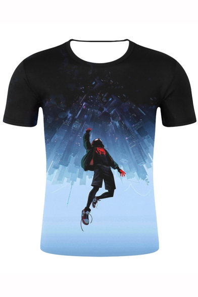 Spider-Man Into the Spider Verse Cool 3D Figure Print Short Sleeve T-Shirt