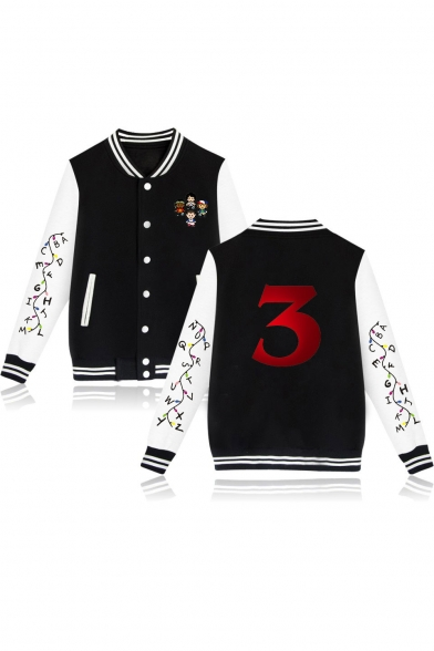 Stranger things 3 Popular Figure Letter Print Color Block Long Sleeve Stand-Up Collar Baseball Jacket