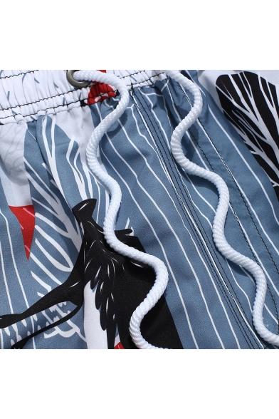 Summer New Trendy Cartoon Colorful Painting Drawstring Waist Mens Surfing Beach Shorts
