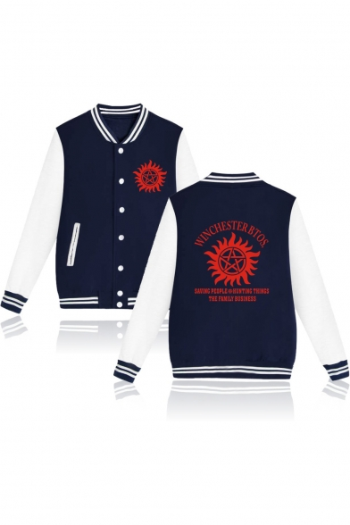 Supernatural Series Fashion Logo Letter Print Stand-Collar Colorblocked Unisex Button-Down Baseball Jacket