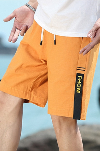 Trendy Stripe Letter FHOM Printed Drawstring Waist Guys Casual Cotton Straight Shorts