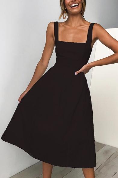 Women's Trendy Simple Plain Sleeveless Retro Square Neck Midi A-Line Cami Dress