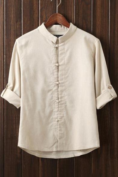 Chinese Style Retro Plain Three-Quarter Sleeve Toggle Closure Linen Shirt