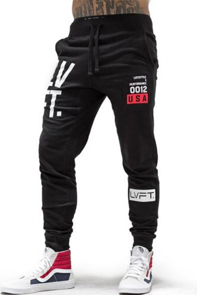 Cool Letter LVFT Printed Drawstring Waist Breathable Leisure Sport Black Cotton Sweatpants for Men