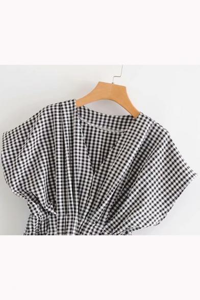 Fashion Classic Plaid Print V-Neck Short Sleeve Black Blouse Top