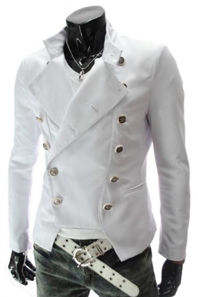 Fashion Stand Collar Long Sleeve Double Breasted Open Hem Plain Suit Blazer for Men