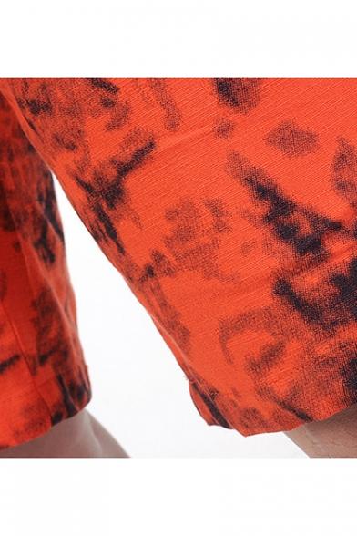 Men's New Stylish Drawstring Waist Tie-Dye Pattern Casual Relaxed Shorts