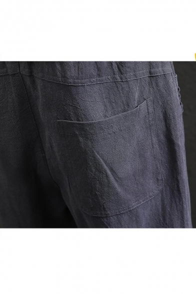 Men's Retro Chinese Style Beach Simple Plain Cropped Loose Cotton and Linen Pants
