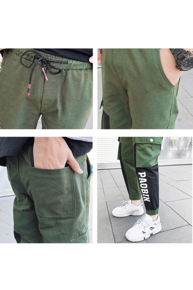 Mens Simple Letter PAOBIN Colorblock Loose Fit Cotton Army Green Cargo Pants