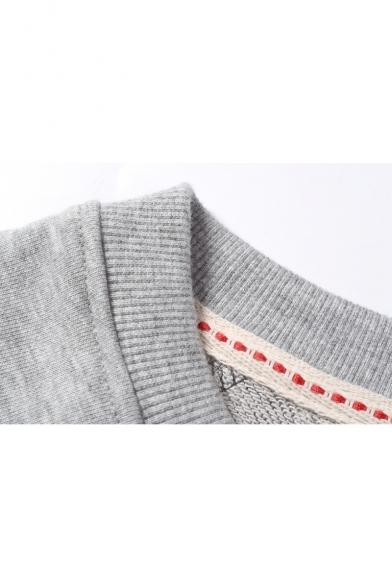 Mens Simple Raglan Sleeve Round Neck Casual Pullover Sweatshirt
