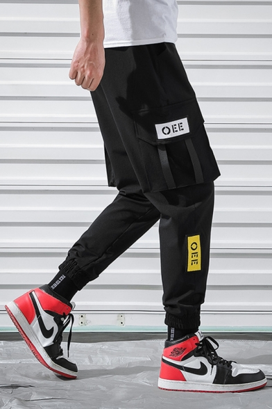 New Stylish Simple Letter OEE Tape Pocket Side Black Sport Cargo Pants Trousers